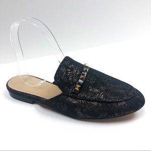 Marc Fisher Black & Gold Tapestry Wishing Mules